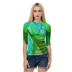 Sunlight Filtering Through Transparent Leaves Green Blue Quarter Sleeve Tee