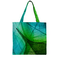 Sunlight Filtering Through Transparent Leaves Green Blue Zipper Grocery Tote Bag by BangZart