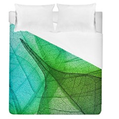 Sunlight Filtering Through Transparent Leaves Green Blue Duvet Cover (queen Size) by BangZart