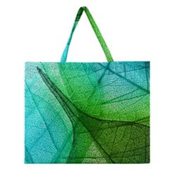 Sunlight Filtering Through Transparent Leaves Green Blue Zipper Large Tote Bag by BangZart