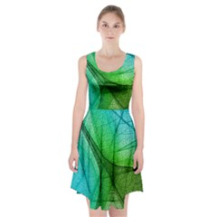 Sunlight Filtering Through Transparent Leaves Green Blue Racerback Midi Dress