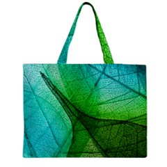 Sunlight Filtering Through Transparent Leaves Green Blue Medium Zipper Tote Bag
