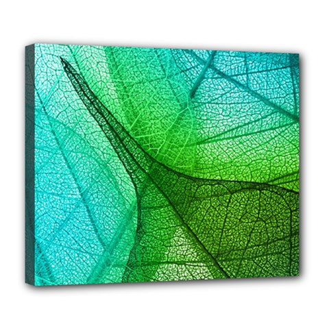 Sunlight Filtering Through Transparent Leaves Green Blue Deluxe Canvas 24  X 20   by BangZart