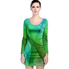 Sunlight Filtering Through Transparent Leaves Green Blue Long Sleeve Bodycon Dress