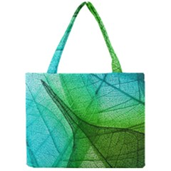 Sunlight Filtering Through Transparent Leaves Green Blue Mini Tote Bag by BangZart