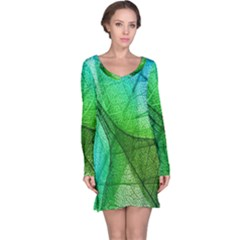 Sunlight Filtering Through Transparent Leaves Green Blue Long Sleeve Nightdress
