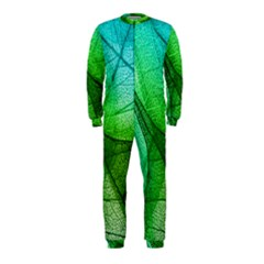 Sunlight Filtering Through Transparent Leaves Green Blue Onepiece Jumpsuit (kids)