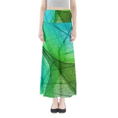 Sunlight Filtering Through Transparent Leaves Green Blue Full Length Maxi Skirt