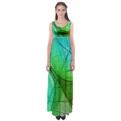 Sunlight Filtering Through Transparent Leaves Green Blue Empire Waist Maxi Dress