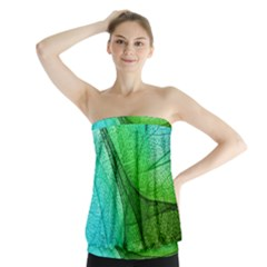 Sunlight Filtering Through Transparent Leaves Green Blue Strapless Top