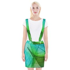 Sunlight Filtering Through Transparent Leaves Green Blue Braces Suspender Skirt