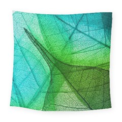 Sunlight Filtering Through Transparent Leaves Green Blue Square Tapestry (large)