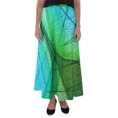 Sunlight Filtering Through Transparent Leaves Green Blue Flared Maxi Skirt