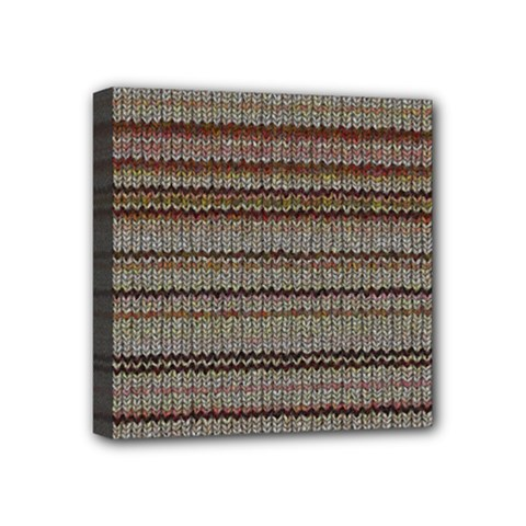 Stripy Knitted Wool Fabric Texture Mini Canvas 4  X 4  by BangZart