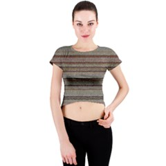 Stripy Knitted Wool Fabric Texture Crew Neck Crop Top