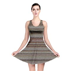 Stripy Knitted Wool Fabric Texture Reversible Skater Dress