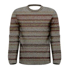 Stripy Knitted Wool Fabric Texture Men s Long Sleeve Tee