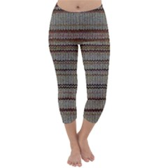 Stripy Knitted Wool Fabric Texture Capri Winter Leggings