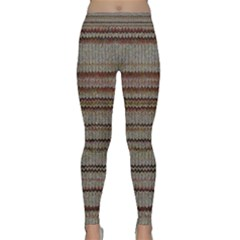 Stripy Knitted Wool Fabric Texture Classic Yoga Leggings