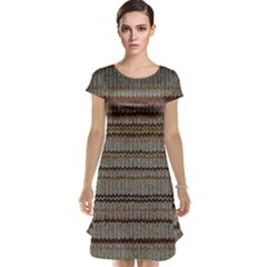 Stripy Knitted Wool Fabric Texture Cap Sleeve Nightdress