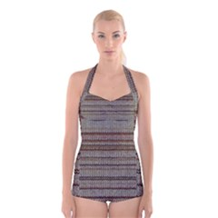 Stripy Knitted Wool Fabric Texture Boyleg Halter Swimsuit