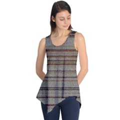 Stripy Knitted Wool Fabric Texture Sleeveless Tunic
