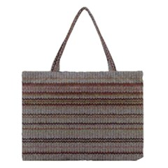 Stripy Knitted Wool Fabric Texture Medium Tote Bag by BangZart
