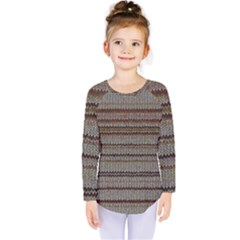 Stripy Knitted Wool Fabric Texture Kids  Long Sleeve Tee