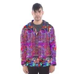 Technology Circuit Board Layout Pattern Hooded Wind Breaker (men) by BangZart