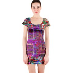 Technology Circuit Board Layout Pattern Short Sleeve Bodycon Dress