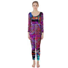 Technology Circuit Board Layout Pattern Long Sleeve Catsuit