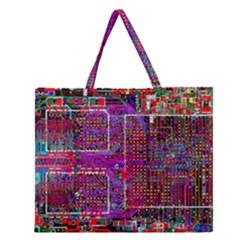 Technology Circuit Board Layout Pattern Zipper Large Tote Bag