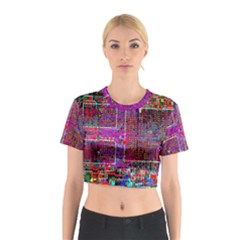 Technology Circuit Board Layout Pattern Cotton Crop Top