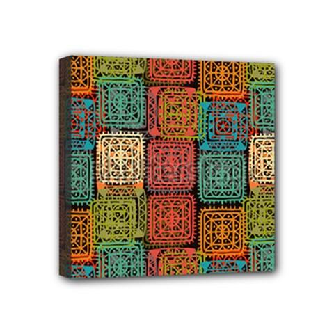 Stract Decorative Ethnic Seamless Pattern Aztec Ornament Tribal Art Lace Folk Geometric Background C Mini Canvas 4  X 4  by BangZart