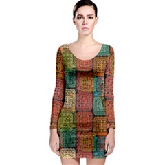 Stract Decorative Ethnic Seamless Pattern Aztec Ornament Tribal Art Lace Folk Geometric Background C Long Sleeve Bodycon Dress