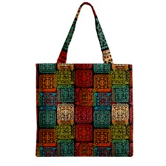 Stract Decorative Ethnic Seamless Pattern Aztec Ornament Tribal Art Lace Folk Geometric Background C Zipper Grocery Tote Bag by BangZart