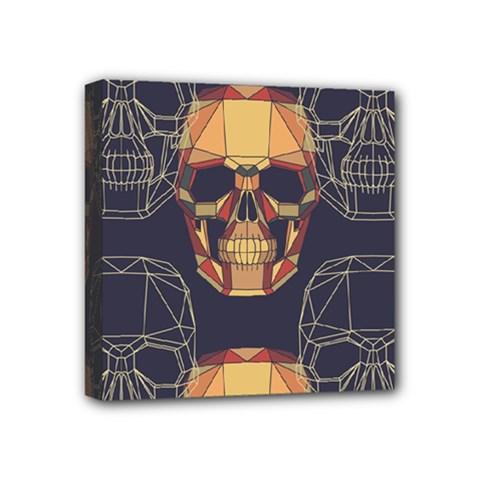 Skull Pattern Mini Canvas 4  X 4  by BangZart