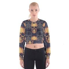 Skull Pattern Cropped Sweatshirt