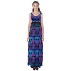 Skull Pattern Wallpaper Empire Waist Maxi Dress