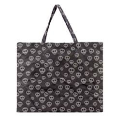 Skull Halloween Background Texture Zipper Large Tote Bag by BangZart