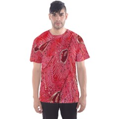 Red Peacock Floral Embroidered Long Qipao Traditional Chinese Cheongsam Mandarin Men s Sports Mesh Tee