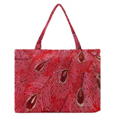 Red Peacock Floral Embroidered Long Qipao Traditional Chinese Cheongsam Mandarin Medium Zipper Tote Bag