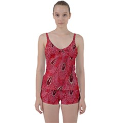 Red Peacock Floral Embroidered Long Qipao Traditional Chinese Cheongsam Mandarin Tie Front Two Piece Tankini