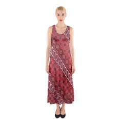 Red Batik Background Vector Sleeveless Maxi Dress