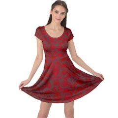 Red Dark Vintage Pattern Cap Sleeve Dresses