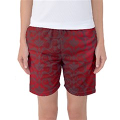 Red Dark Vintage Pattern Women s Basketball Shorts