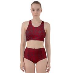 Red Dark Vintage Pattern Bikini Swimsuit Spa Swimsuit
