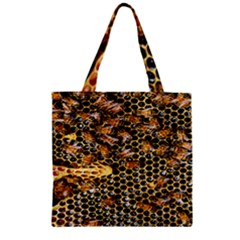 Queen Cup Honeycomb Honey Bee Zipper Grocery Tote Bag by BangZart