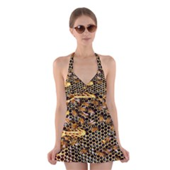 Queen Cup Honeycomb Honey Bee Halter Swimsuit Dress