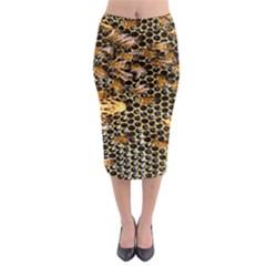 Queen Cup Honeycomb Honey Bee Midi Pencil Skirt by BangZart